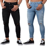 Litthing Hot Sale Fashion Casual Mens Skinny Stretch Denim Pants Distressed Ripped Freyed Slim Fit Jeans Trousers For Male Pants