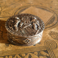 Antique Silver Snuff Tobacco Pill Box Repousse 800 Silver Holiday Gift GiftsFor Him