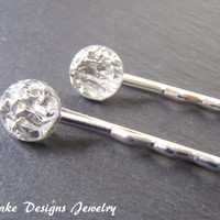 glittering silver foil hair clips set of two bobby pins