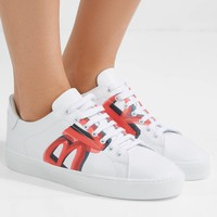 BURBERRY Logo-print leather sneakers