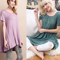 Easel soft short sleeve oil washed hi lo tunic top