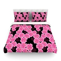 """Kess InHouse Julia Grifol """"Pink on Black"""" King Cotton Duvet Cover, 104 by 88-Inch"""