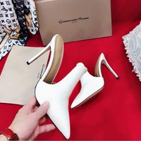 Gianvito Rossi Sandals Shoes 105mm Stiletto Heel White Cattle Casual Women Slippers