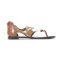 Tan Gold Fan Sandal