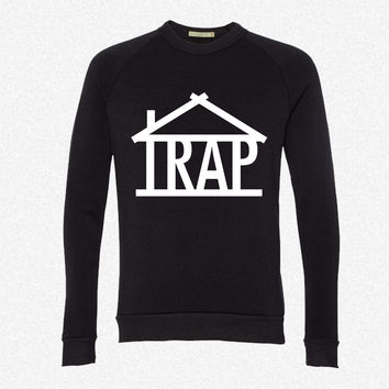 TRAP HOUSE OG fleece crewneck sweatshirt