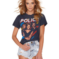 Police Print Short Sleeve Graphic T-shirt