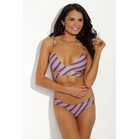 Haku Side Cut Out Bikini Top - That 70's Striped Pink/Purple Print