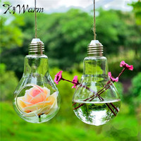 Clear hanging Glass Plants Flower Vase Hydroponic Container Party Decor Bulb Shape