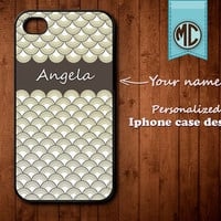 Personalized iPhone Case - Plastic or Silicone Rubber Monogram iPhone 4 4S Case Cover - K018