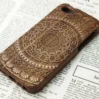 Custom Mandala  wood iPhone 5 Case.Flower wood iPhone 6 Case.Wood iPhone 5s Case.Wood iPhone 6plus Case.iPhone 5c Case.wood iphone 4s case