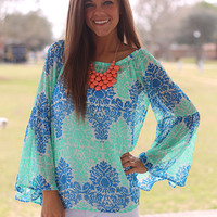 The Jasmine Blouse, Mint/Blue