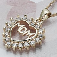 Gold Layered Women Mom Fancy Necklace, with White Cubic Zirconia, by Folks Jewelry