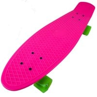 Plastic Cruiser Skateboard Pink Deck Complete Penny Size DIY Banana Board (Green Wheels, 27 Inches)