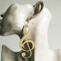 5pairs/lot Unfinished  natural color music note Wood Earrings