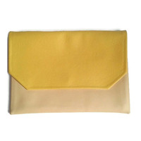 Colorblock clutch, envelope clutch, crossbody bag, vegan leather, yellow and butter, festival bag, evening bag