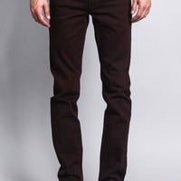 Men's Skinny Fit Colored Jeans (Brown)