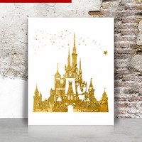 Cinderella castle faux gold print, Disney castle art print, princess castle poster, Home decor, Gift, Wall art, Kids room, FamoustarsPrints.