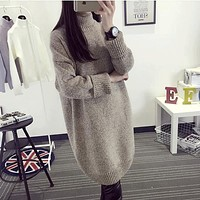 High Knit Student Pullover Upset Long Sweater