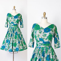Green and Blue Floral Knit 1960s Dress Full Skirt