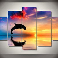 Modular pictures canvas prints nordic decoration In Ocean sunset dolphin HD Photo Painting wall art decoration room poster image