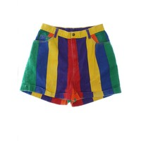 1990s NO Shorts: 90s -NO- Womens yellow, violet, red, blue and green banded vertical stripe print cotton denim five pocket wicked 90s shorts with button/zip front closure, standard belt loops and pre-cuffed hems.