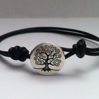 Tree of Life Button Leather Bracelet Charm by Jennasjewelrydesign