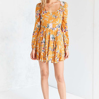 Ecote Rosalinda Floral Long-Sleeve Mini Dress - Urban Outfitters