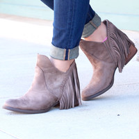 Not Rated: Braxton Fringe Back Booties {Taupe}
