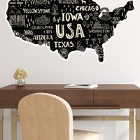 Hand Drawn Illustration of USA Map Graphic Wall Decal Sticker. #6104