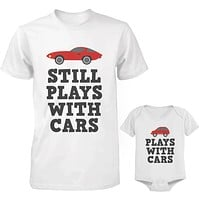 Daddy and Baby Matching White T-Shirt / Bodysuit Combo - Plays With Cars