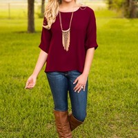 Everly: Breath Of Fresh Air Top-Maroon - NEW ARRIVALS