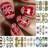 Luminous Glow Full WRAPS Christmas Nail Art Sticker Tips Decals Multi-Color