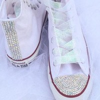 Rhinestone and Glitter Converse Bride Wedding Quiceanera Bat Mitzvah Prom Shoes