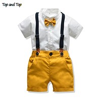 Top and Top Baby Boy Clothing Sets Infants Newborn Boy Clothes Shorts Sleeve Tops