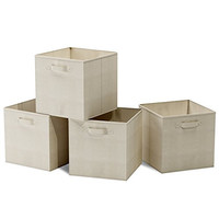 Closet Organizer - Fabric Storage Basket Cubes Bins - 4 Beige Cubeicals Containers Drawers