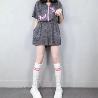 """Adidas"" Women Sport Casual Loose Fashion Letter Print Short Sleeve Hooded Zip Romper Jumpsuit Shorts"