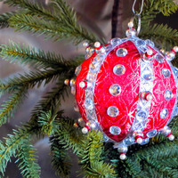 Christmas Ornament, Red Ball with Silver & Pearl Accents in Gift Box, Handmade Fabric Tree Decoration, Holiday Decor, Present Gift Wrapped