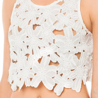 Flower Embroidered Crop Top in White