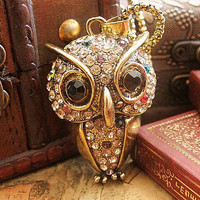 Vintage Retro Style Cute Owl Gem Pendant Chain Necklace , Crystal Diamond Studded Metal Personalized Necklace , Jewelry Necklace Chain