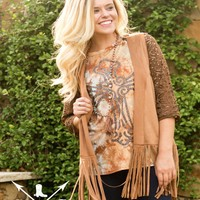 Gracie's Tan Leather Vest with Fringe