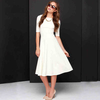 White Sleeve Midi Dress