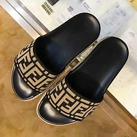 Fendi New fashion more letter print high quality couple slippers shoes