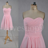 Short Pink Prom Dresses Lovely Sweetheart Bridesmaid Dresses  Knee Length Party Dresses Homecoming Dresses Wedding Dresses