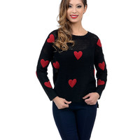 Black Long Sleeve Heart Patches Knit Sweater