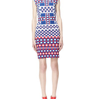 Alexander McQueen Graphic Check Cap-Sleeve Dress, Blue/White/Red