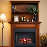 Cherry Wood Finish Surround Cabinet For Built-In Electric Fireplaces