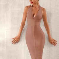 Adyce Backless Zip Back Halter Bandage Dress