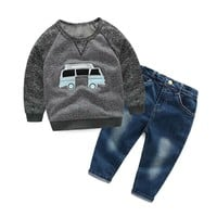 Boys Clothing Set Casual Boy Clothes Set Cartoon Car Long Sleeve T-shirt Jeans Kids Boys Clothing Set