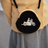 YiZi Velvet Mini Crosbody Bag/Black Motocycle Gang