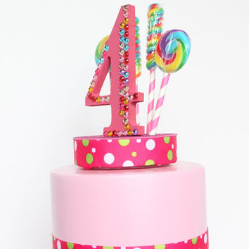 Candyland, Lollipop Candy Cake Topper, Rainbow Rhinestone, Birthday (pink)